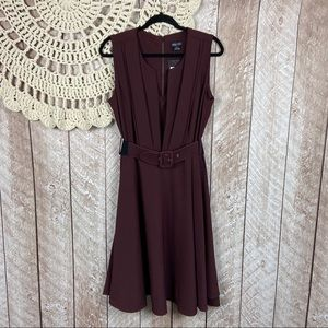 City Chic Veronica Fit And Flare Dress In Oxblood